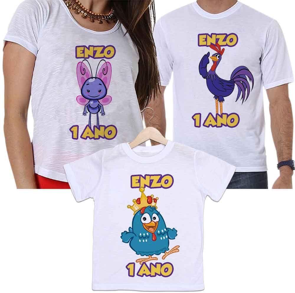 Camisetas Tal Pai, Tal Mãe e Tal Filho Aniversário Personalizada Galinha Pintadinha