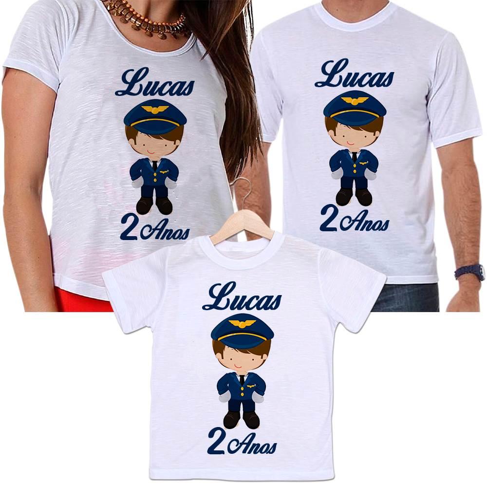 Camisetas Tal Pai, Tal Mãe e Tal Filho Aniversário Personalizada Piloto de Avião