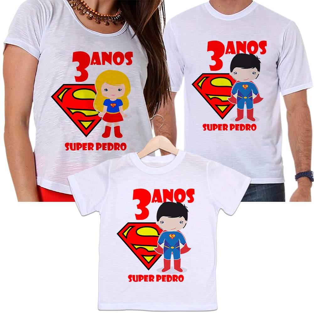 Camisetas Tal Pai, Tal Mãe e Tal Filho Aniversário Personalizada Super Homem