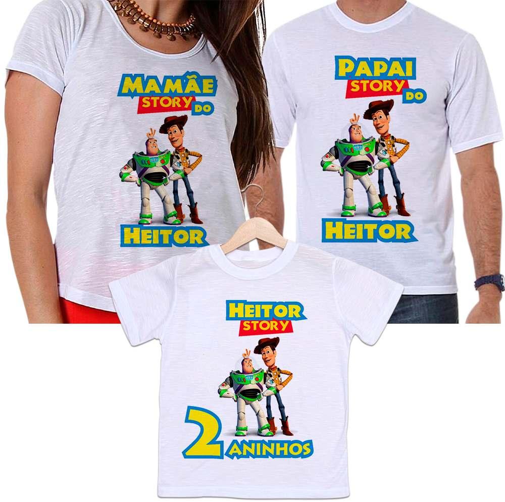 ef8db0fb511b Camisetas Tal Pai, Tal Mãe e Tal Filho Aniversário Personalizada Toy Story  - Empório Camiseteria