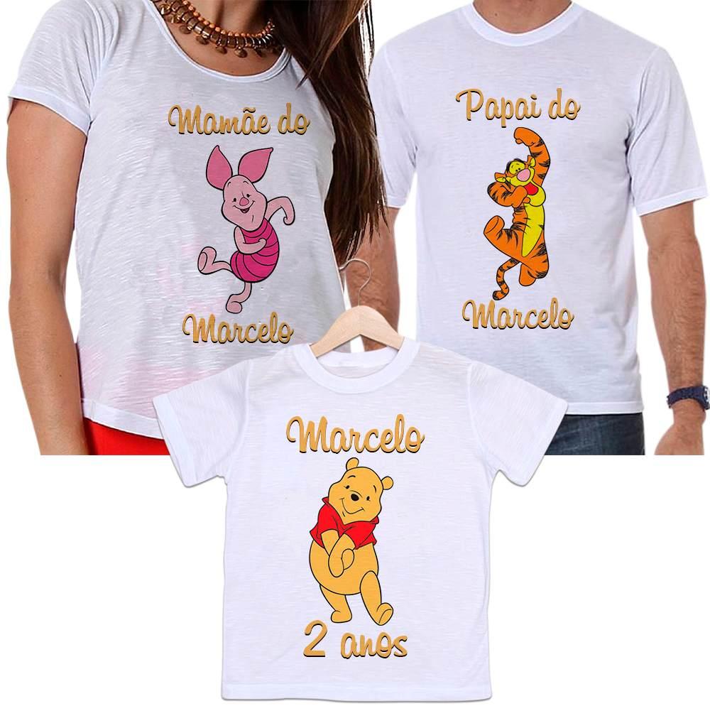 Camisetas Tal Pai, Tal Mãe e Tal Filho Aniversário Personalizada Ursinho Pooh