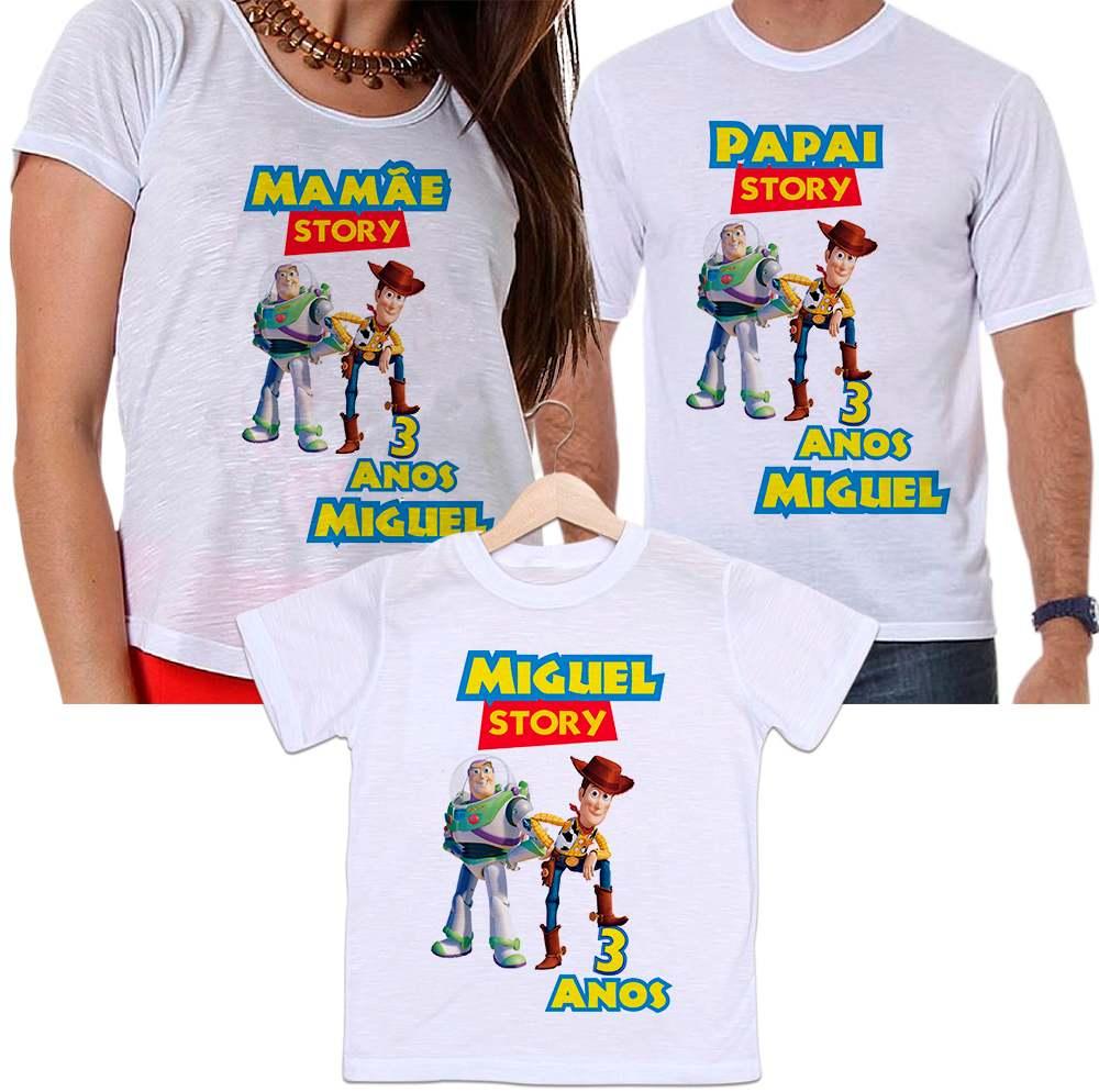 Camisetas Tal Pai, Tal Mãe e Tal Filho Aniversário Toy Story Personalizada