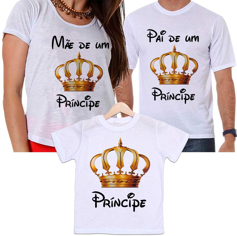 Camisetas Tal Pai, Tal Mãe e Tal Filho Coroa Dourada Mãe e Pai de Um Príncipe