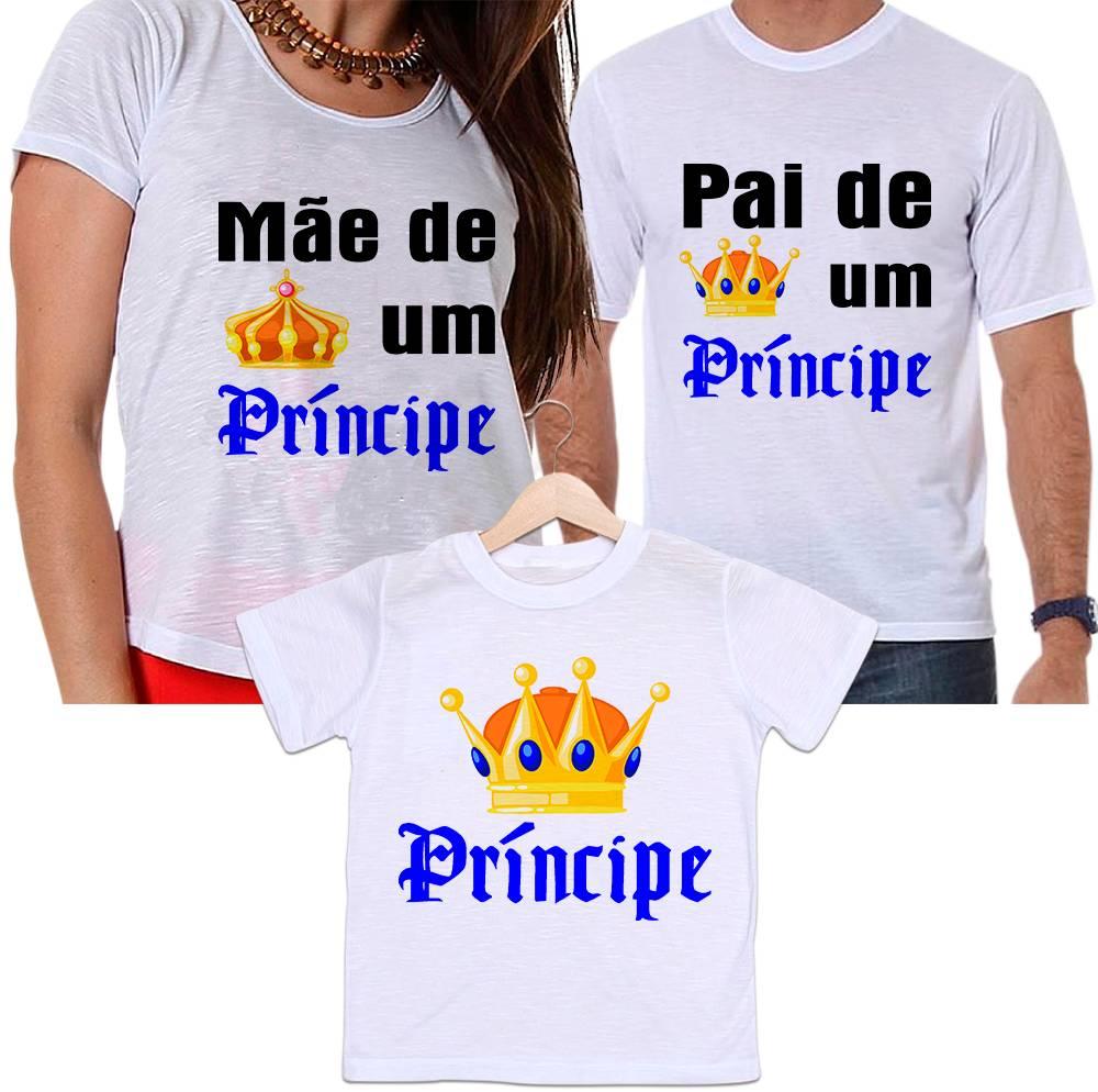 Camisetas Tal Pai, Tal Mãe e Tal Filho Coroa Dourada Papai e Mamãe de Um Príncipe