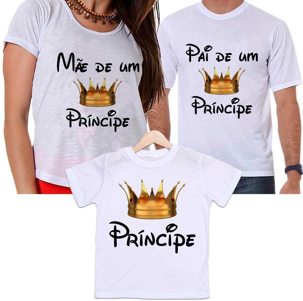 Camisetas Tal Pai, Tal Mãe e Tal Filho Mãe e Pai de Um Príncipe