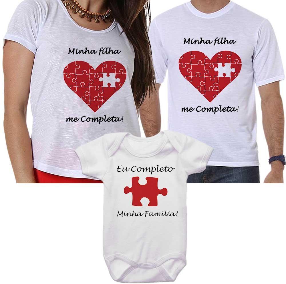 Camisetas Tal Pai Tal Mãe Tal Filha Minha Filha Me Completa Coração Quebra Cabeça