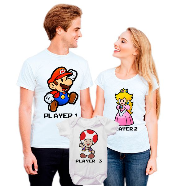 Camisetas Tal Pai Tal Mãe Tal Filho Super Mário CA0824