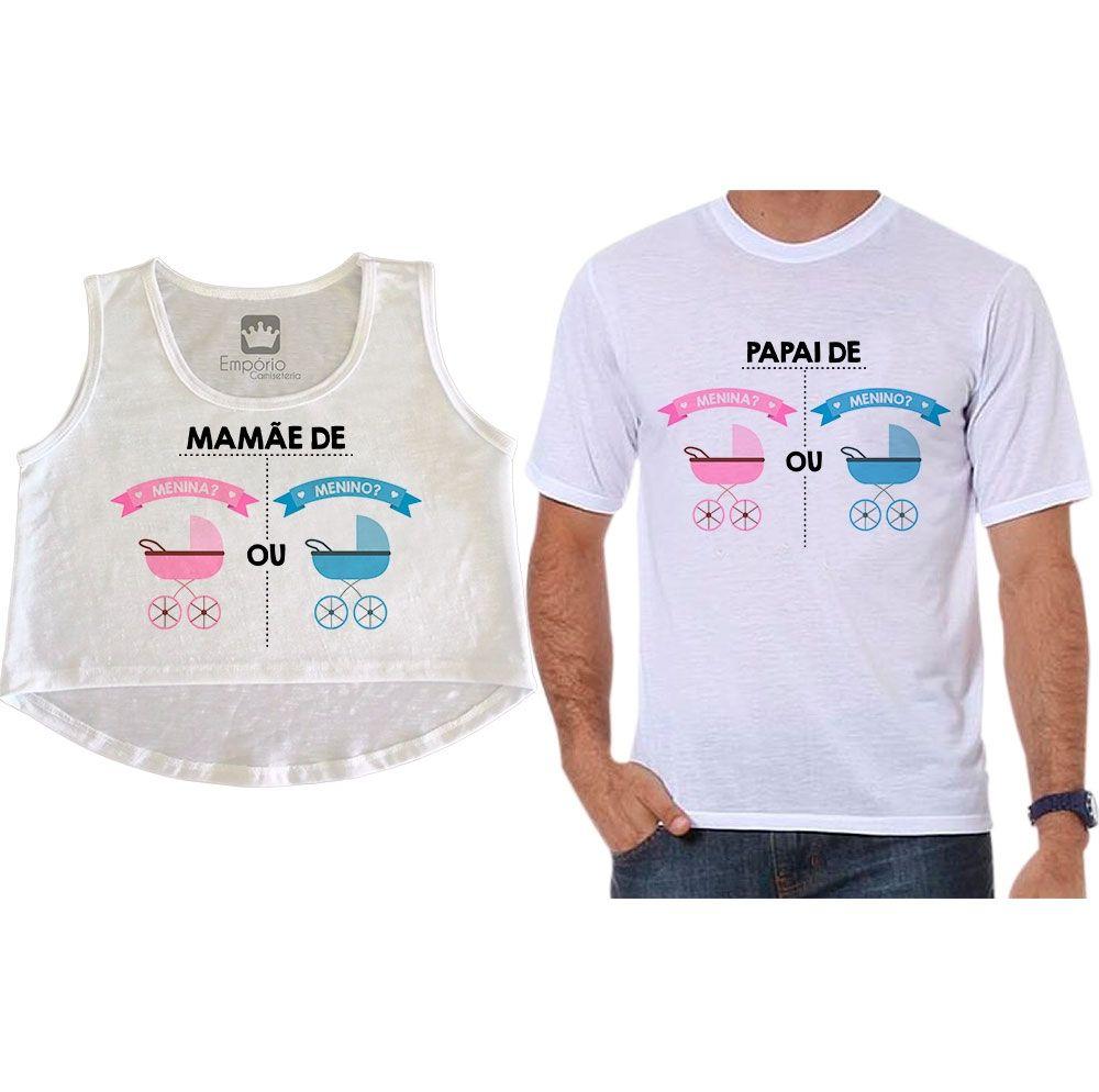 Cropped e Camiseta Chá Revelação Menino ou Menina Carrinhos de Bebê