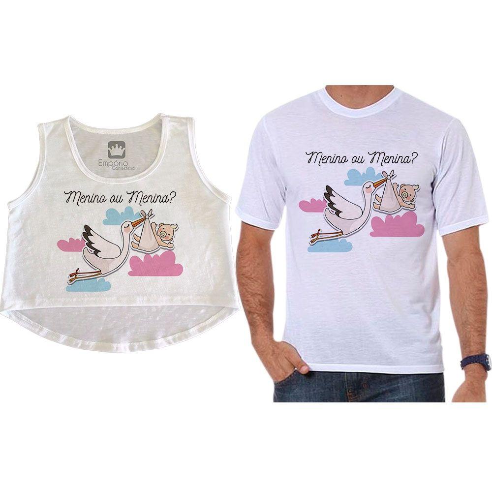Cropped e Camiseta Chá Revelação Menino ou Menina Cegonha