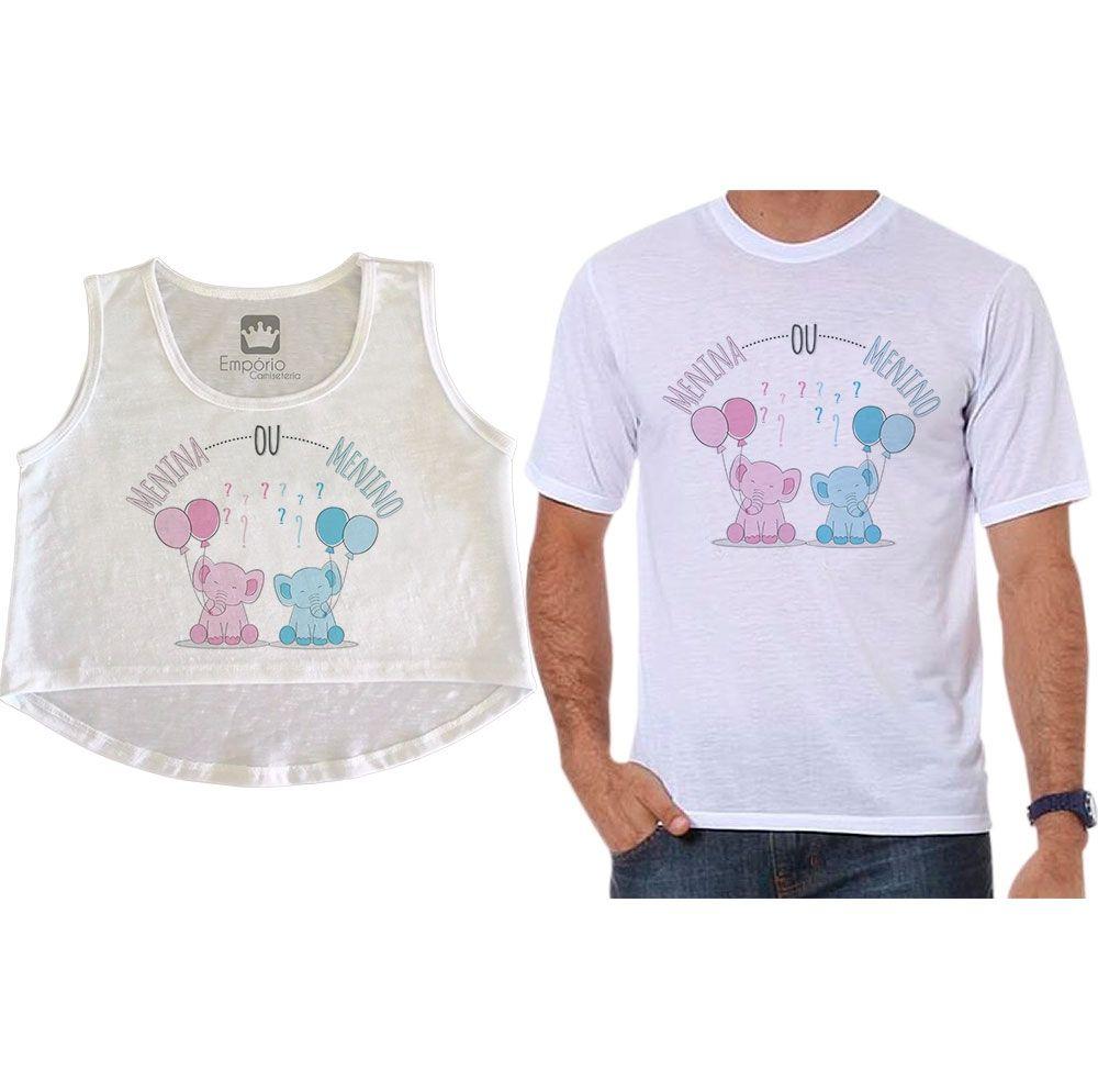 Cropped e Camiseta Chá Revelação Menino ou Menina Elefante Balões