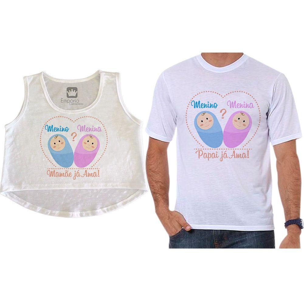 Cropped e Camiseta Chá Revelação Menino ou Menina Gravidez