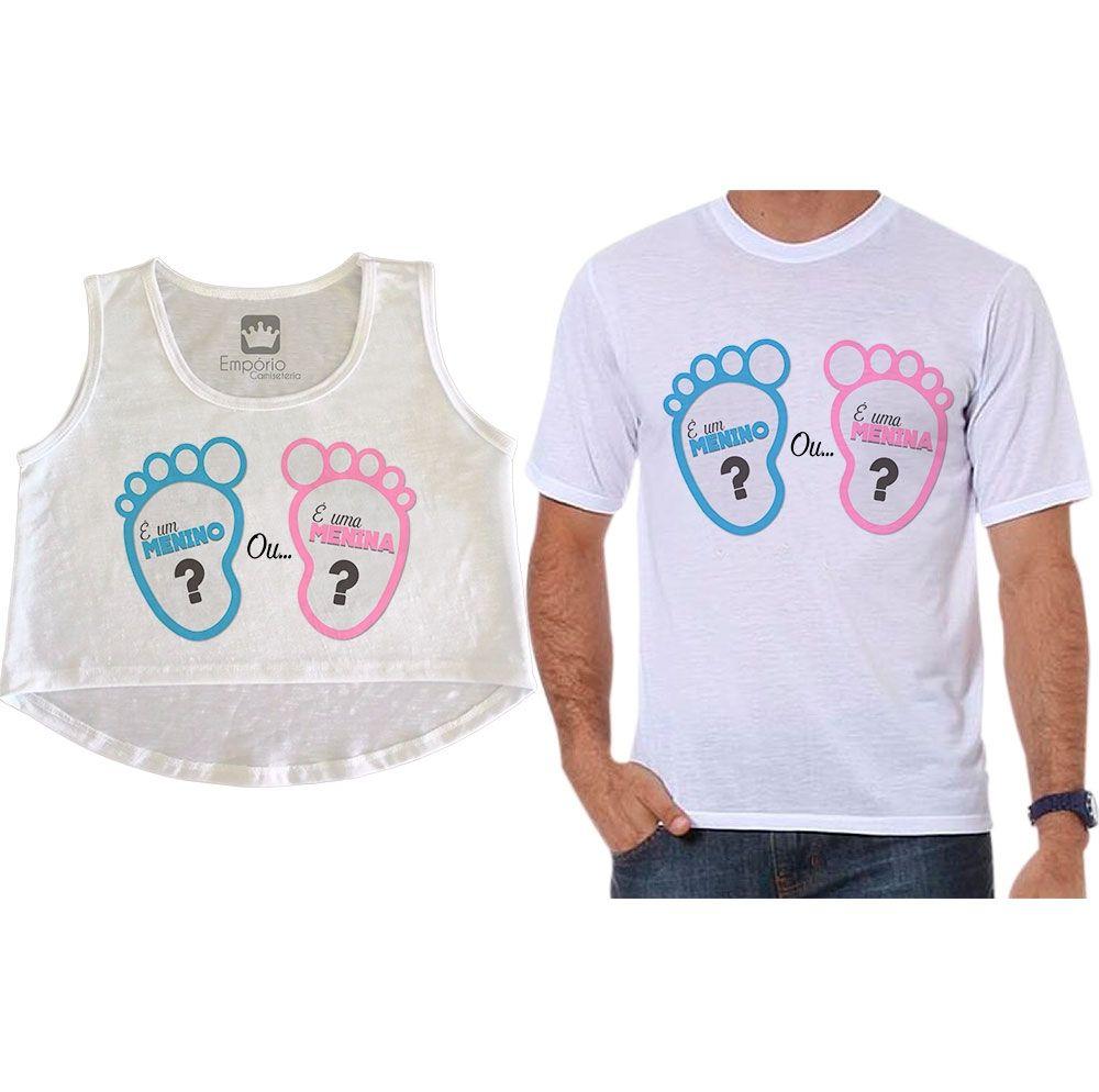 Cropped e Camiseta Chá Revelação Menino ou Menina Pézinho de Bebê