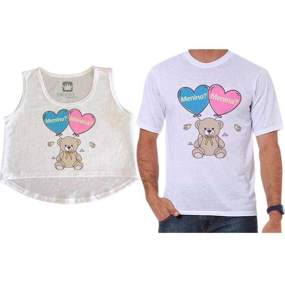 Cropped e Camiseta Chá Revelação Menino ou Menina Ursinho Corações