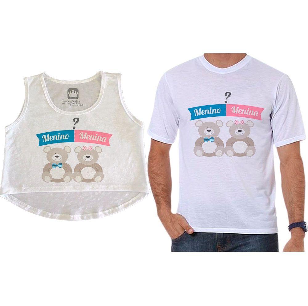 Cropped e Camiseta Chá Revelação Menino ou Menina Ursos