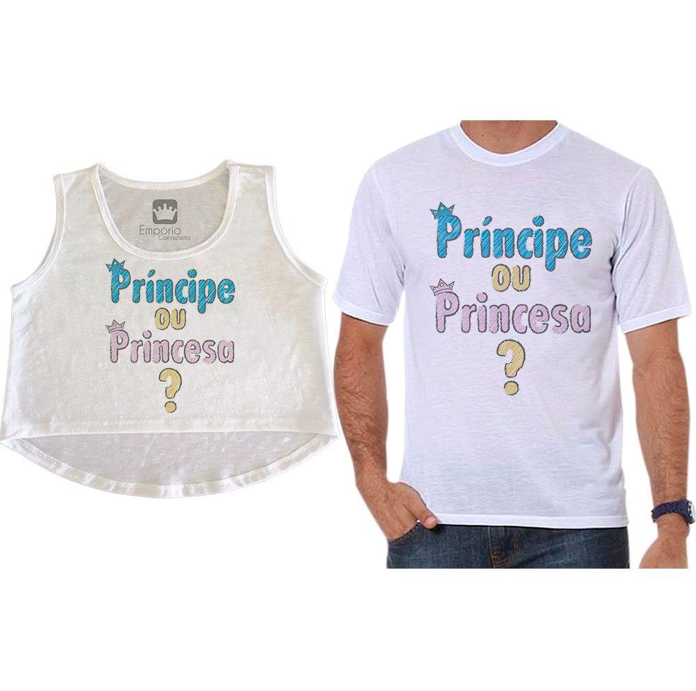 Cropped e Camiseta Chá Revelação Príncipe ou Princesa