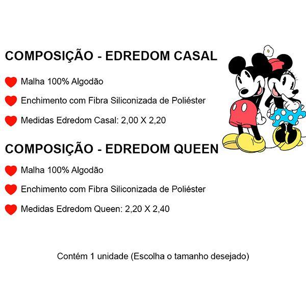 Edredom Casal Dupla Face Amigos do Mickey - 1 Peça