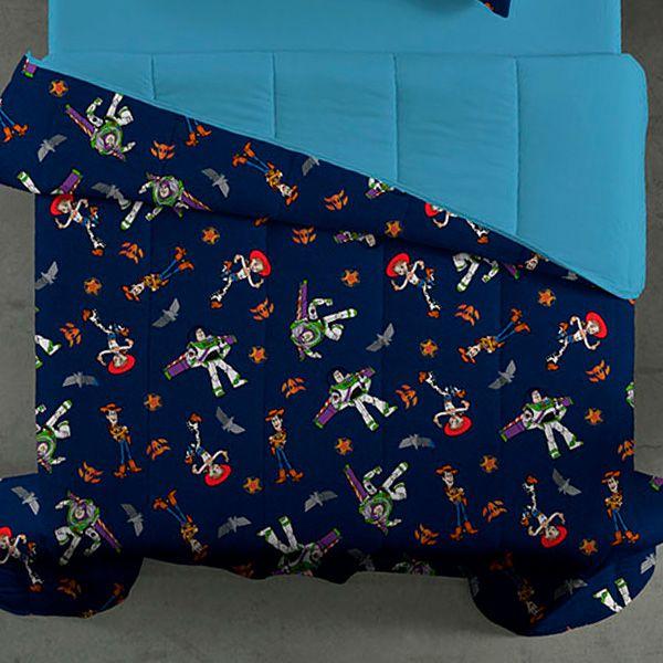 Edredom Casal Dupla Face Azul Toy Story Buzz Lightyear e Jessie - 1 Peça