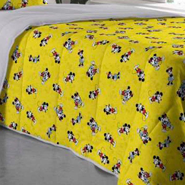 Edredom Solteiro Dupla Face Mickey Amarelo - 1 Peça