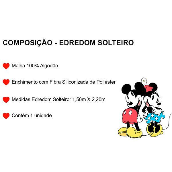 Edredom Solteiro Dupla Face Mickey Azul Marinho - 1 Peça