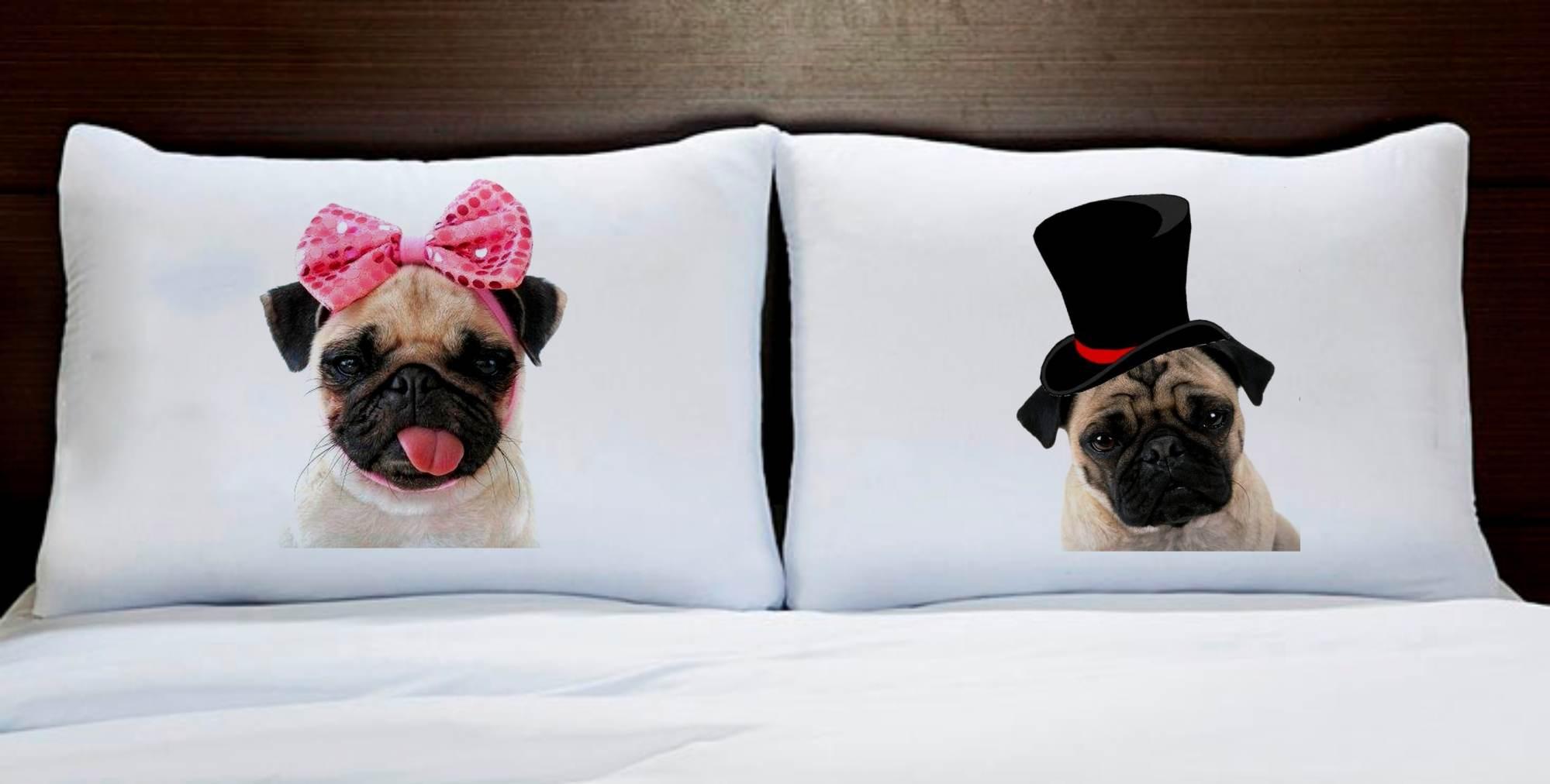 Fronhas Casal Personalizadas Cachorro Pug