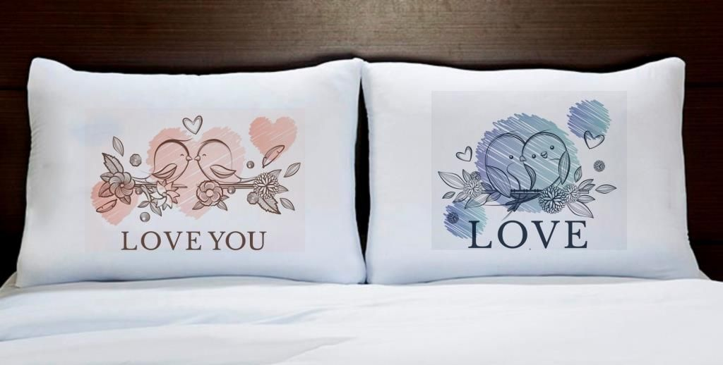 Fronhas Casal Personalizadas Love You Pássaros Coração Rosa Azul