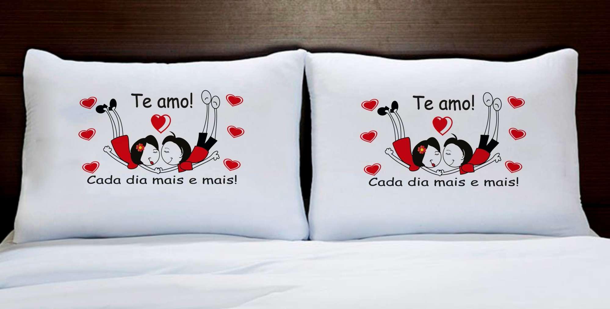 Fronhas Casal Personalizadas Te Amo Cada Dia Mais