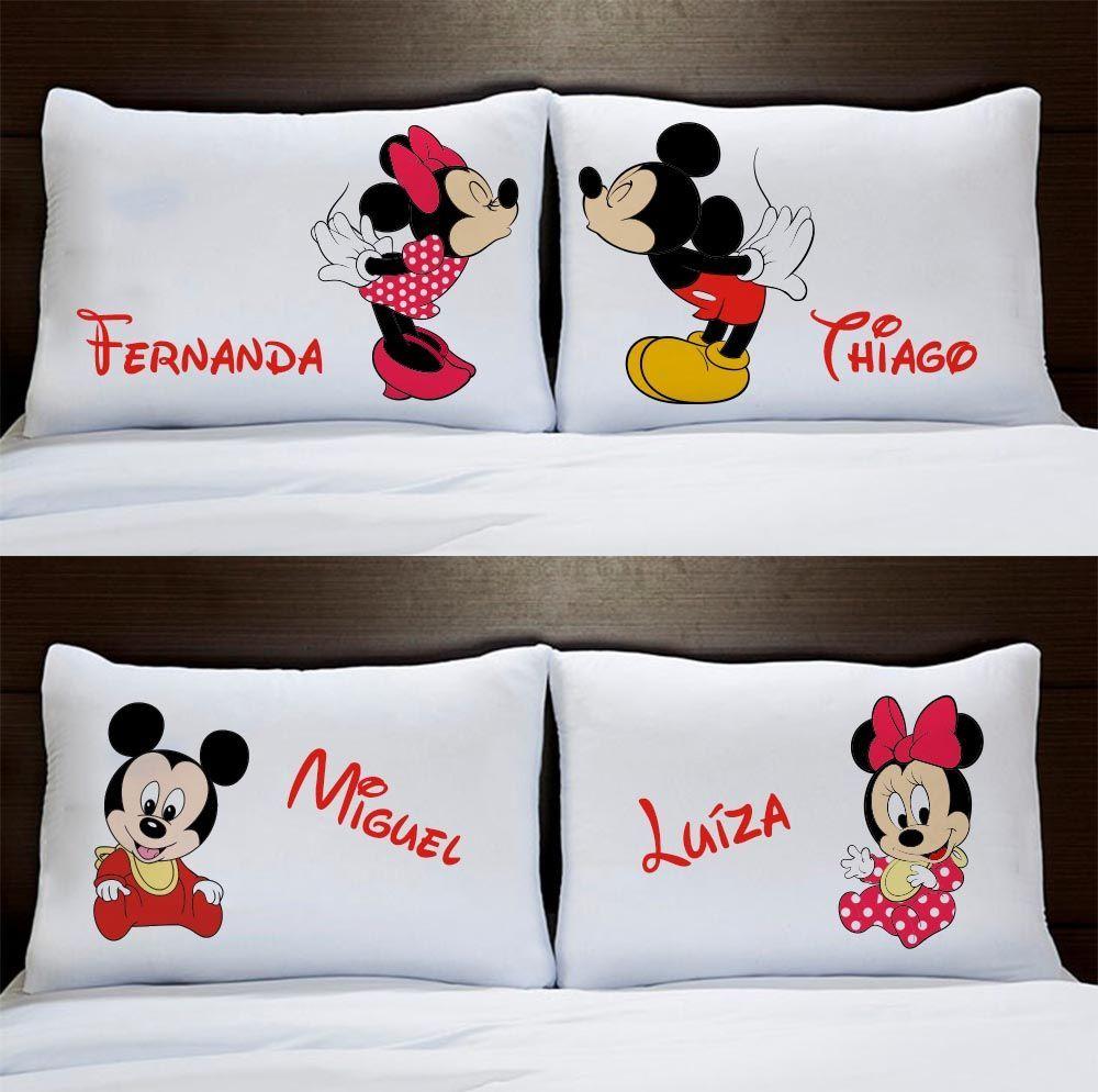 Fronhas Personalizadas Casal Mickey e Minnie Com Filhos Bebês