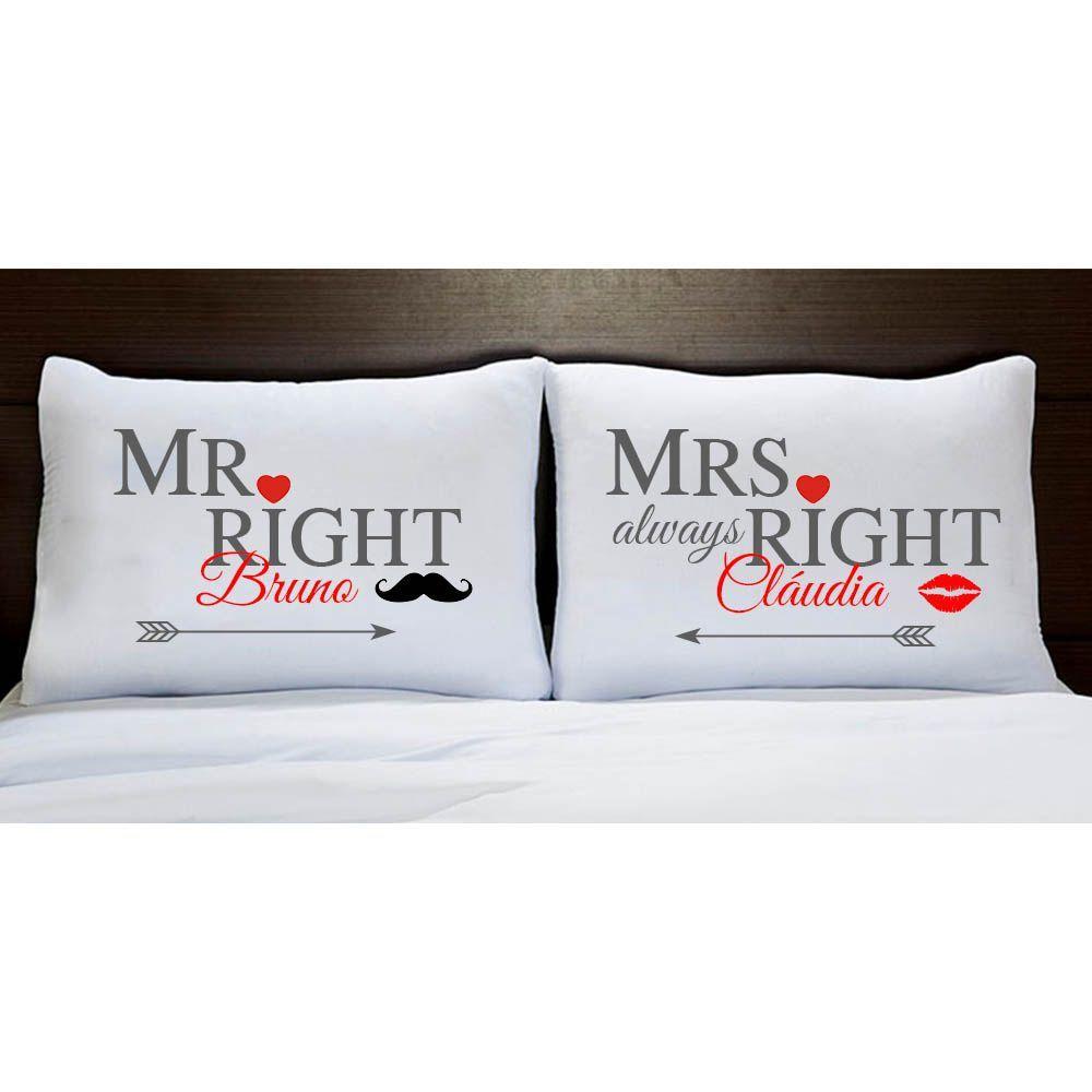Fronhas Personalizadas Casal Mr e Mrs Right