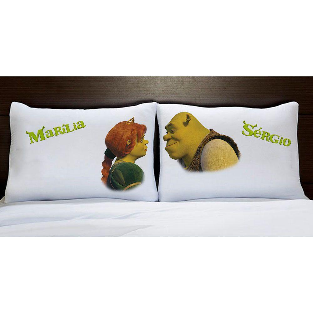 Fronhas Shrek e Fiona Personalizadas