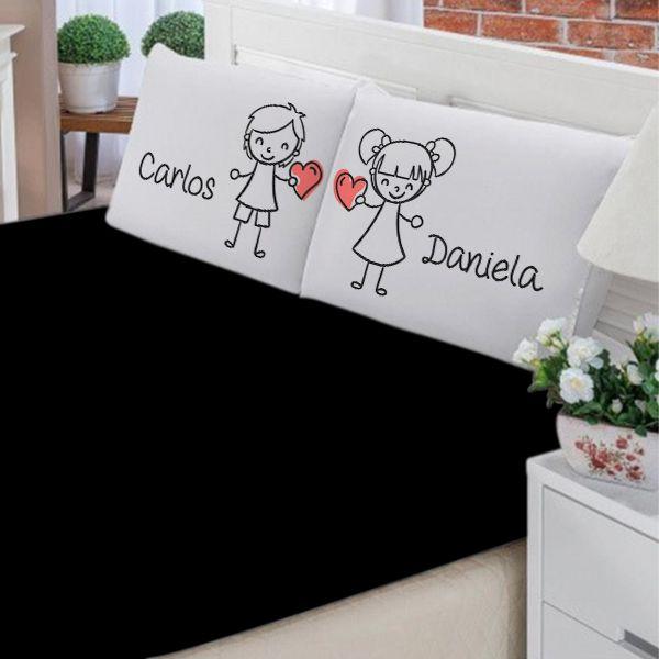 Jogo de Cama Casal Personalizado Apaixonados 3 Peças FR0998