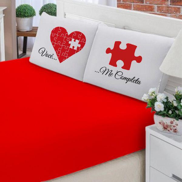 Jogo de Cama Casal Personalizado Coração Quebra Cabeça 3 Peças FR1001