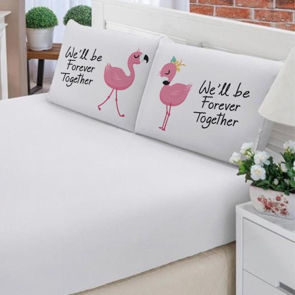 Jogo de Cama Casal Personalizado Flamingo 3 Peças FR1083
