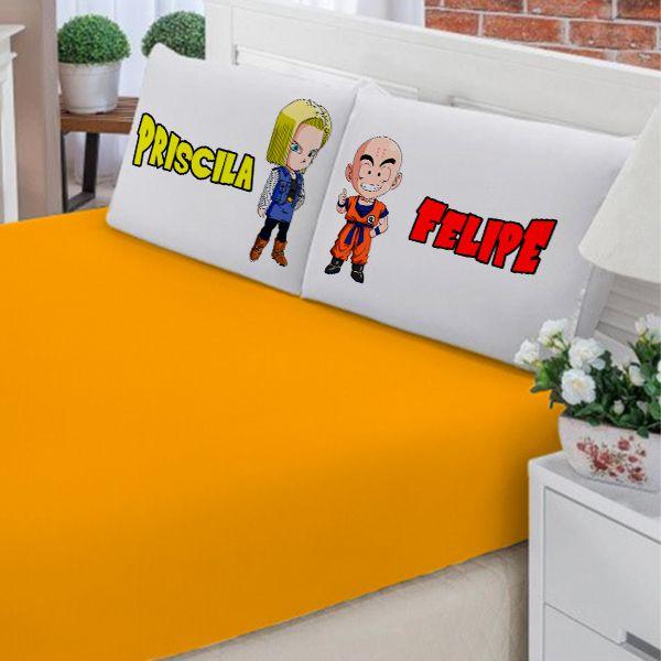 Jogo de Cama Casal Personalizado Kuririn e Android 18 Dragon Ball 3 Peças FR1012