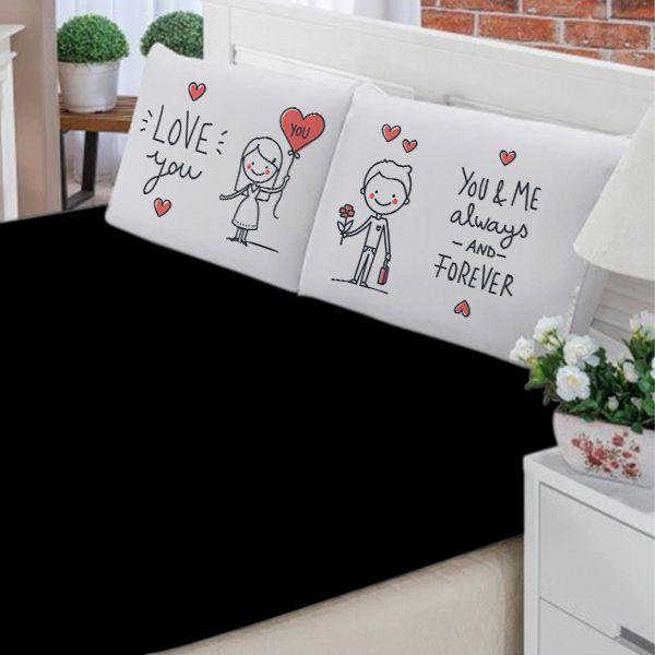 Jogo de Cama Casal Personalizado Love You 3 Peças FR1036