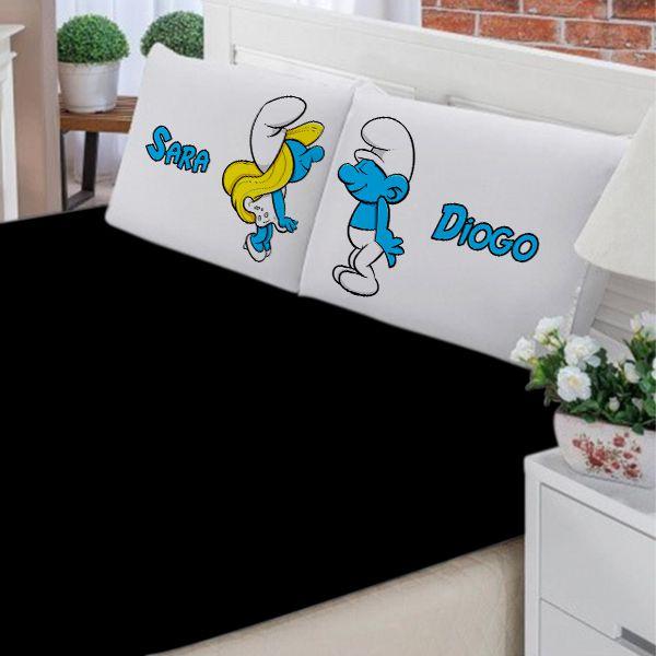 Jogo de Cama Casal Personalizado Os Smurfs 3 Peças FR1020