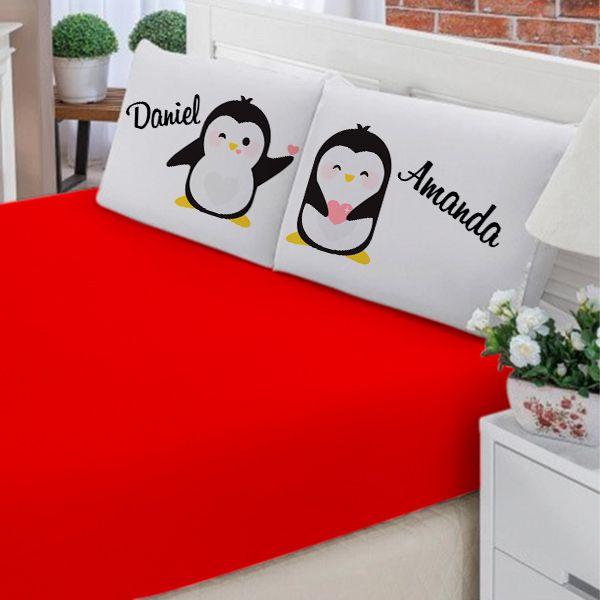 Jogo de Cama Casal Personalizado Pinguim 3 Peças FR1018