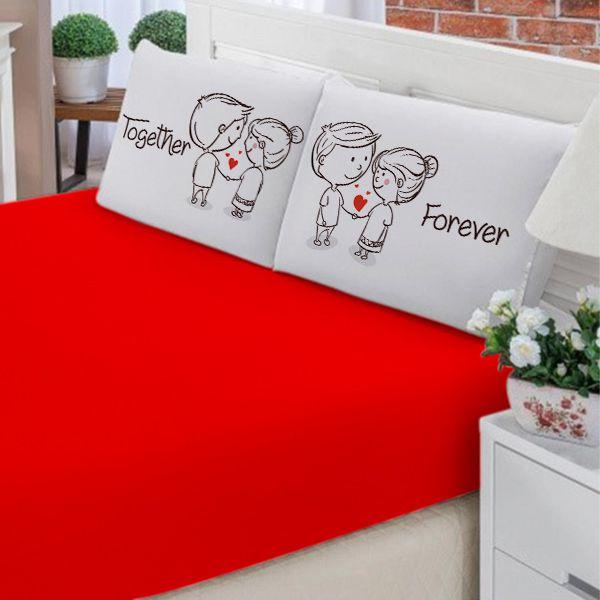 Jogo de Cama Casal Personalizado Together Forever 3 Peças FR1037
