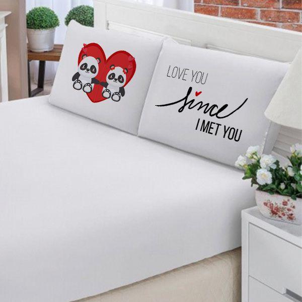 Jogo de Cama Casal Personalizado Urso Panda I Love You Since I Met You 3 Peças FR1033