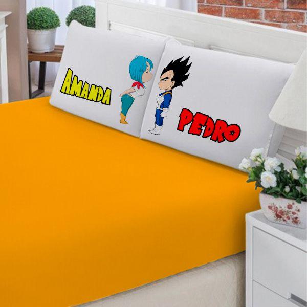 Jogo de Cama Casal Personalizado Vegeta e Bulma Dragon Ball 3 Peças FR1021