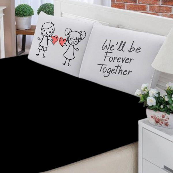 Jogo de Cama Casal Personalizado We Will Be Forever Together 3 Peças FR1035