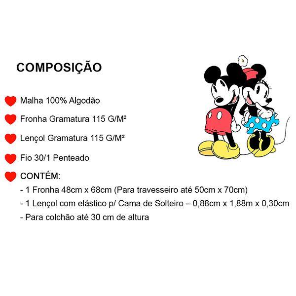 Jogo de Cama Solteiro Mickey Azul Marinho - 2 Peças