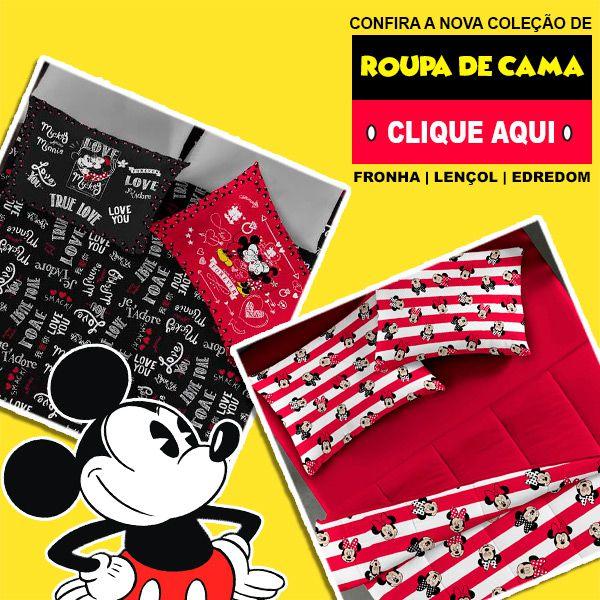 Jogo de Cama Solteiro Mickey e Minnie Forever Red - 2 Peças