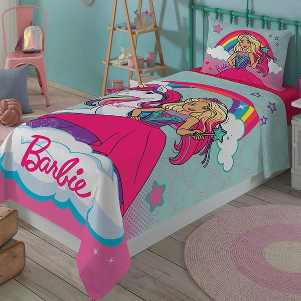 Jogo de Cama Solteiro Barbie - 3 Peças - FR1068