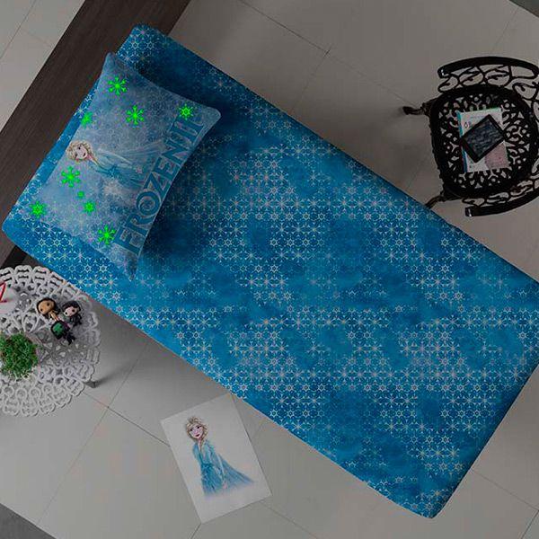 Jogo de Cama Solteiro Frozen Azul Brilha no Escuro - 2 Peças