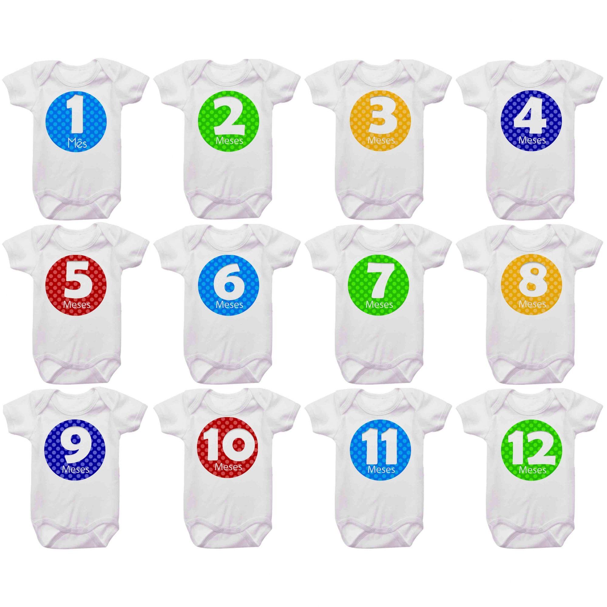 Kit Body Mesversario Bolas Coloridas Números Personalizado