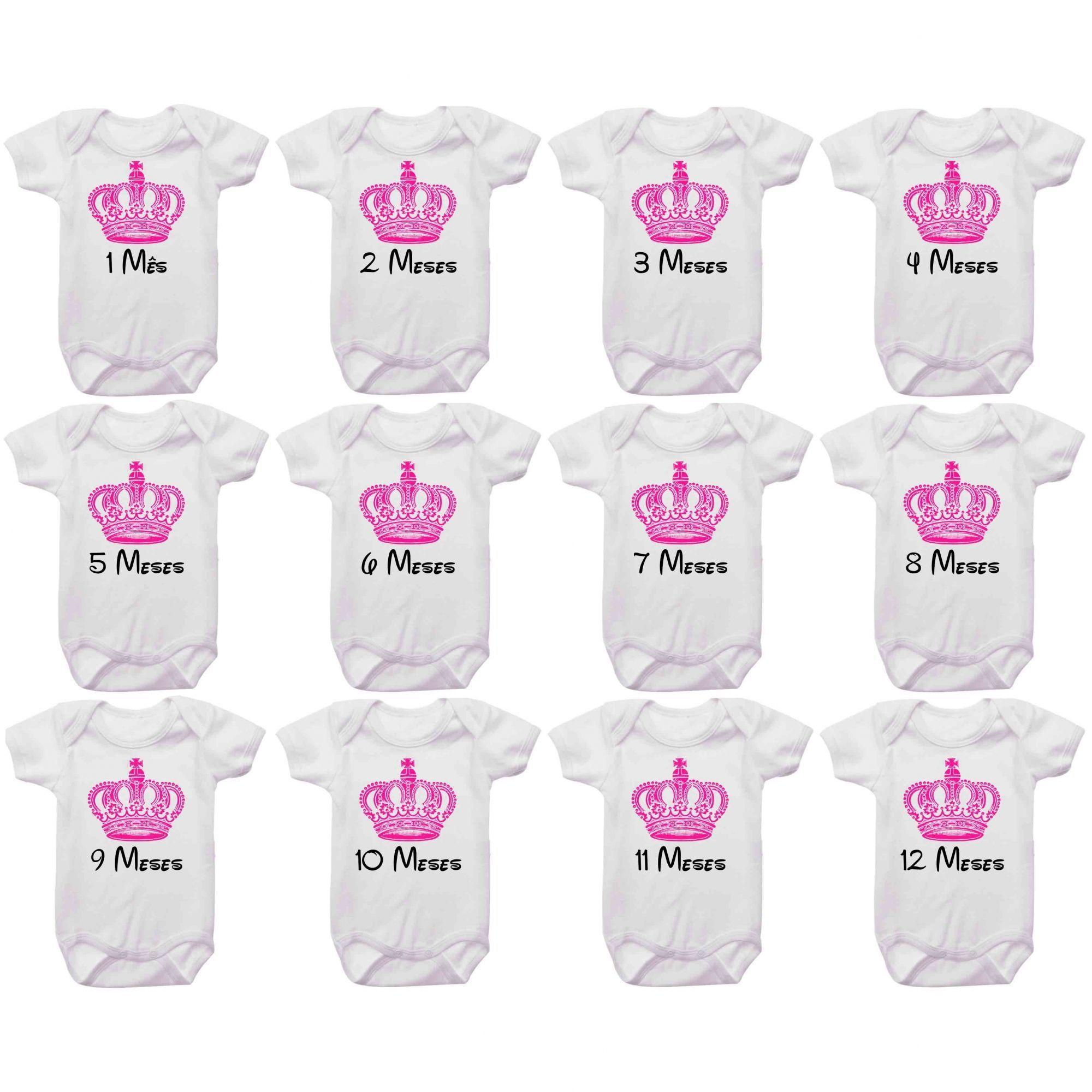 Kit Body Mesversario Coroa Rosa Princesa Personalizado