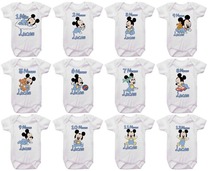 Kit Body Mesversario Mickey Baby Personalizado