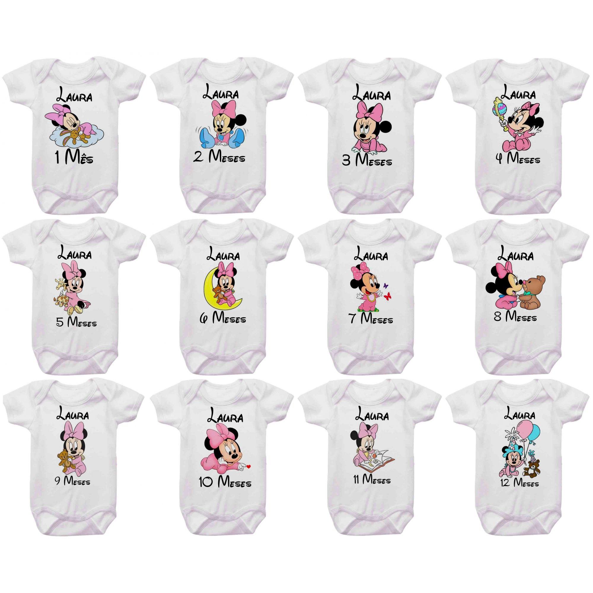 Kit Body Mesversario Minnie Baby Personalizado