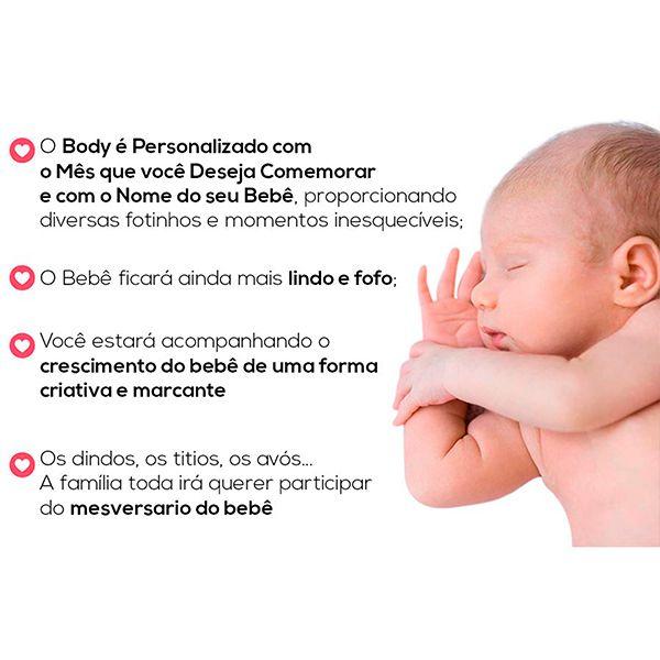 Kit Body Mesversario Presente Para Bebê Cachorrinhos Personalizado