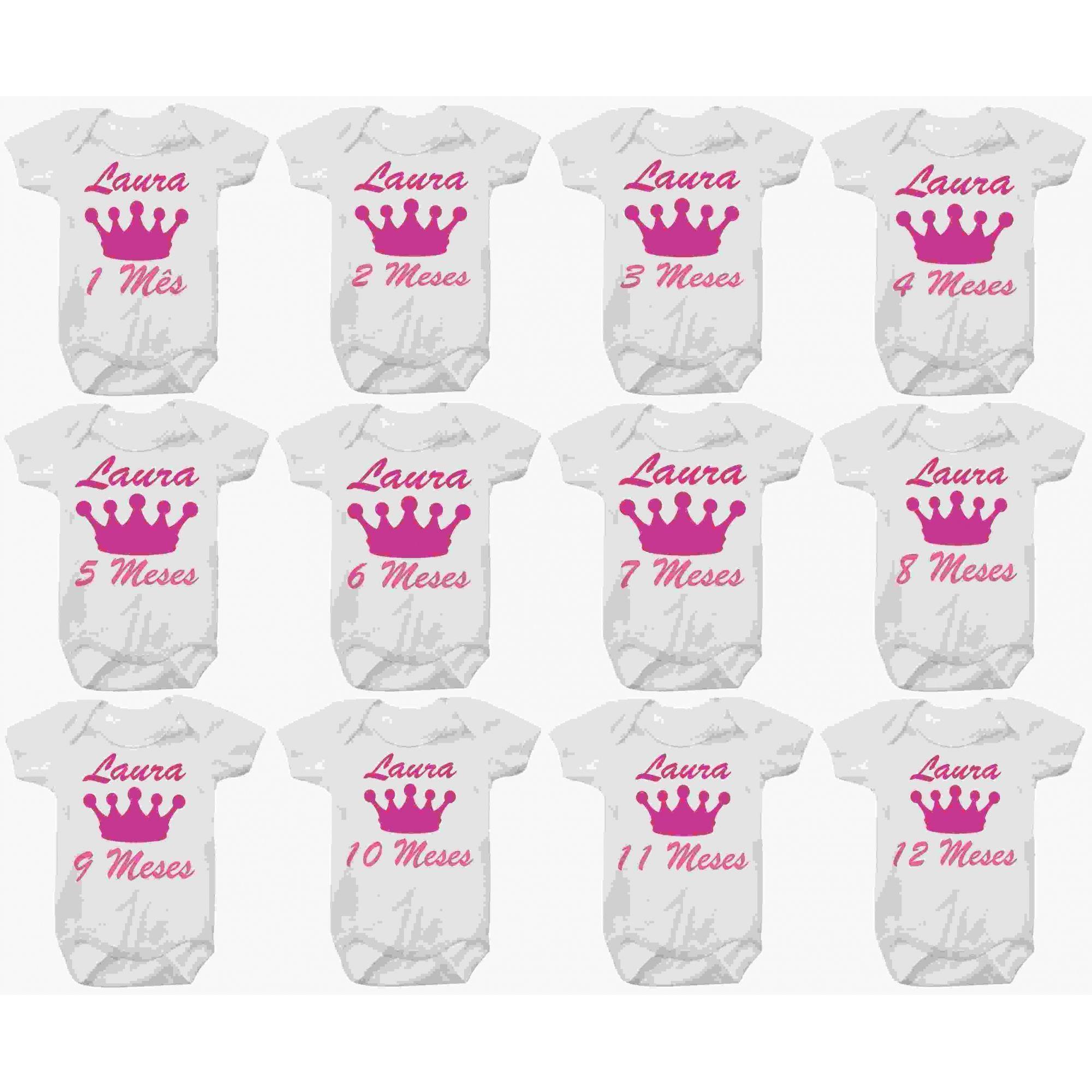 Kit Body Mesversario Princesa Coroa Rosa Personalizado